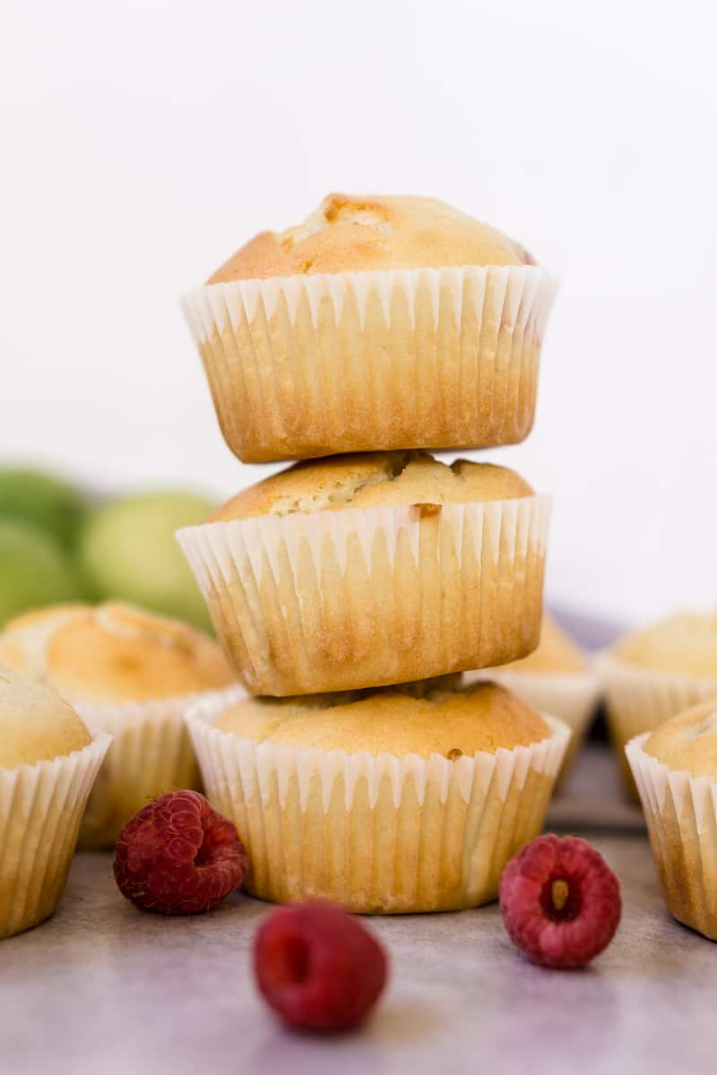 Stack of Raspberry, Coconut & Lime Muffins