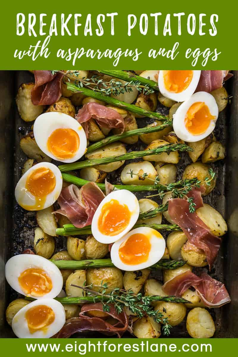 Breakfast Potatoes with Asparagus, Egg and Prosciutto Pinterest Image