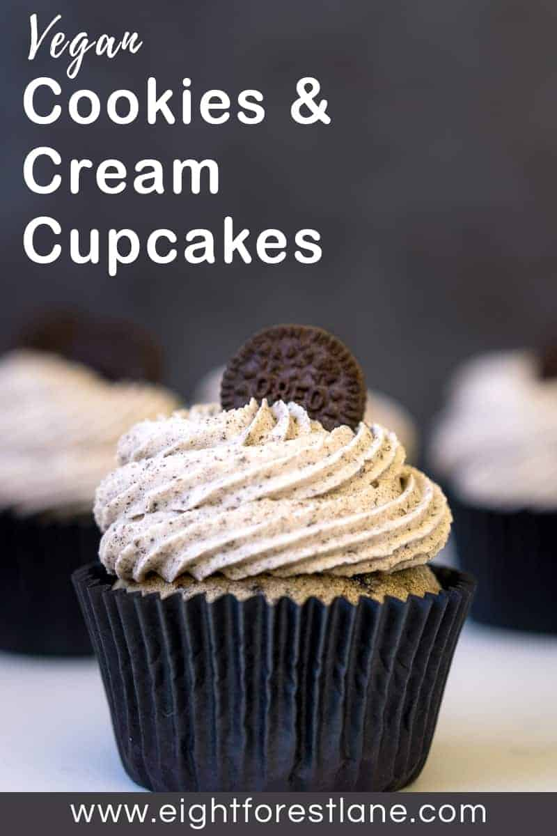 Cookies & Cream Cupcakes (Vegan) - Pinterest Image