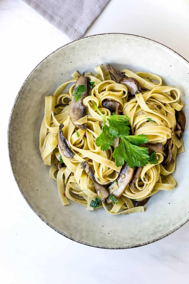 Mushroom Tagliatelle with Olive Oil and Garlic