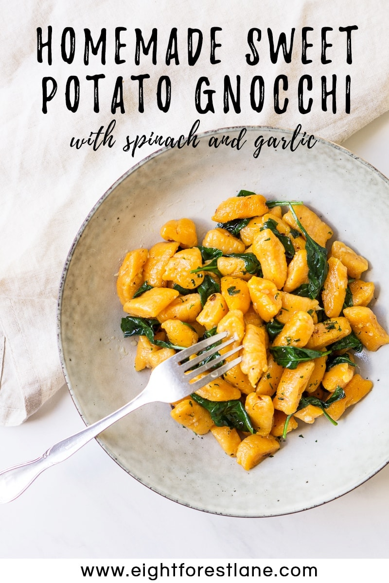 Homemade Sweet Potato Gnocchi with Garlic and Spinach