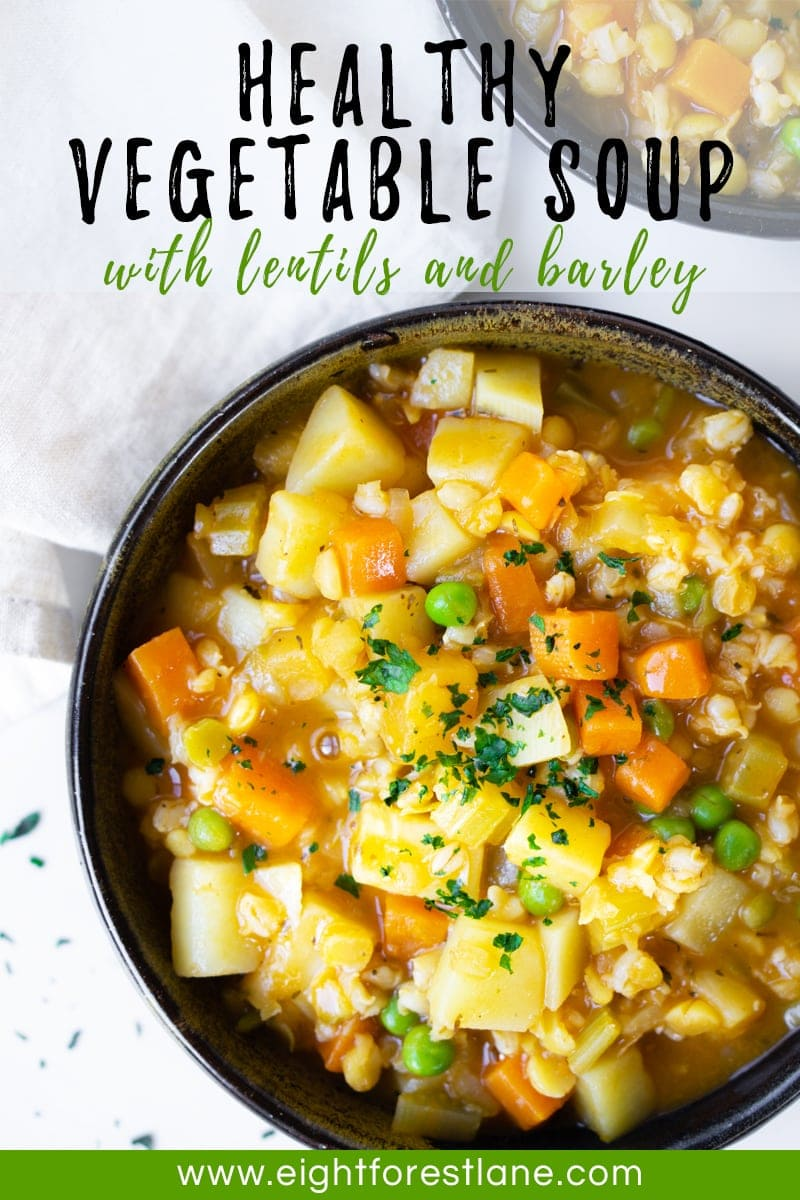 Healthy Vegetable Soup with Lentils and Barley