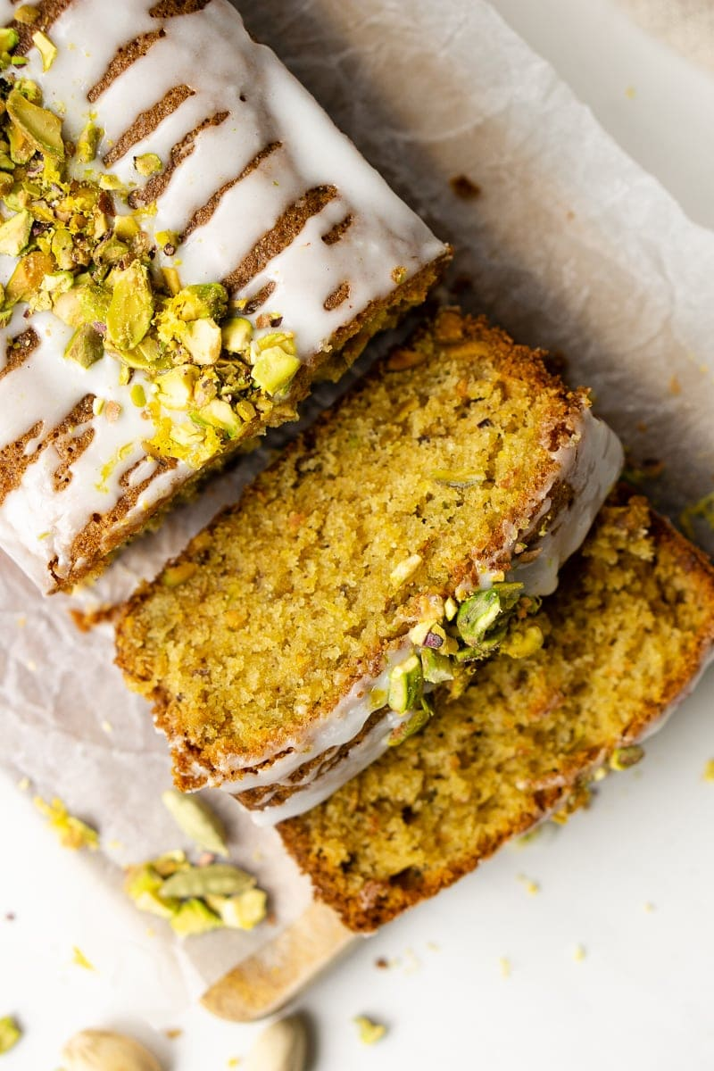 Slices of lemon and pistachio cake