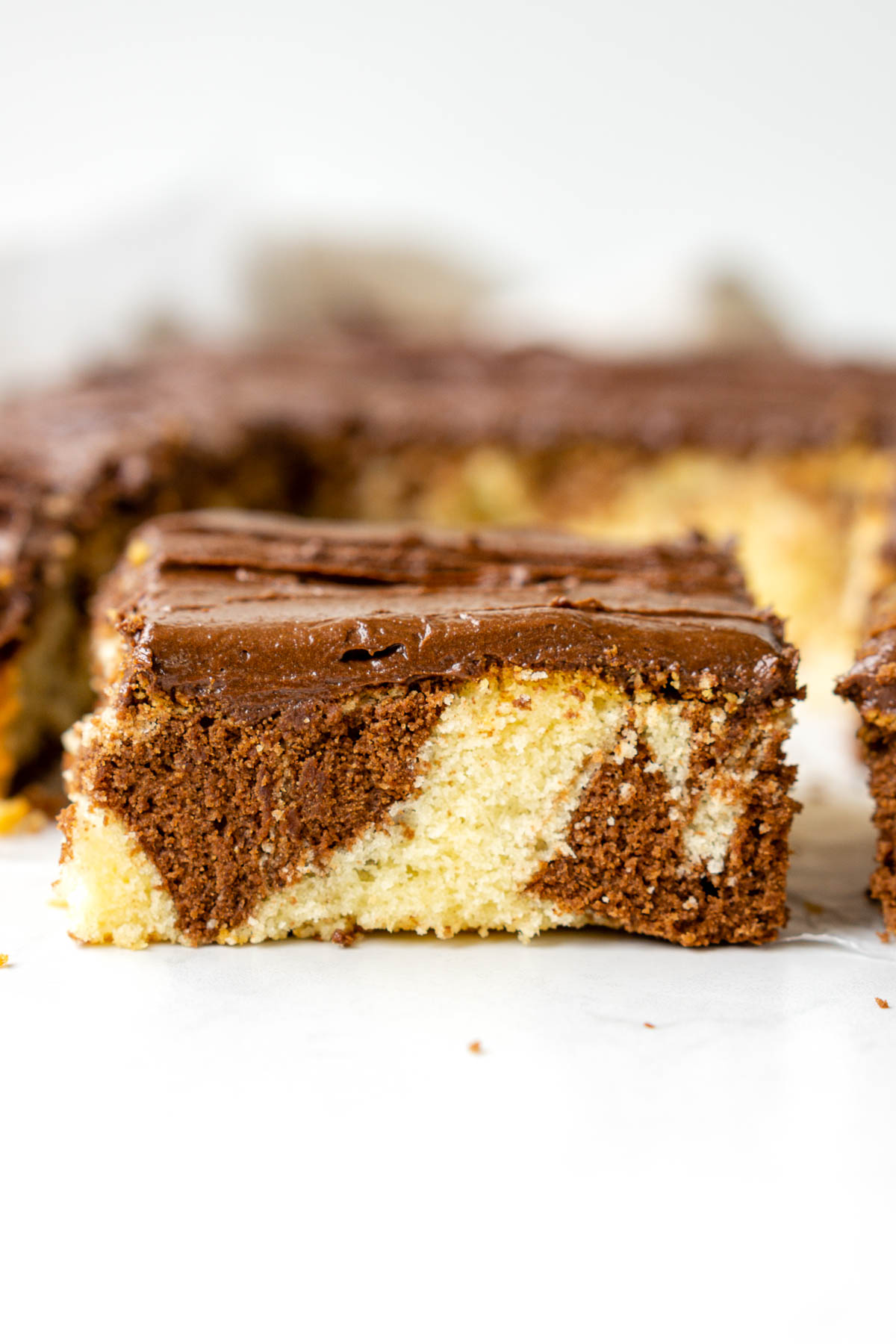 Close up of chocolate and vanilla swirls in a slice of marble cake