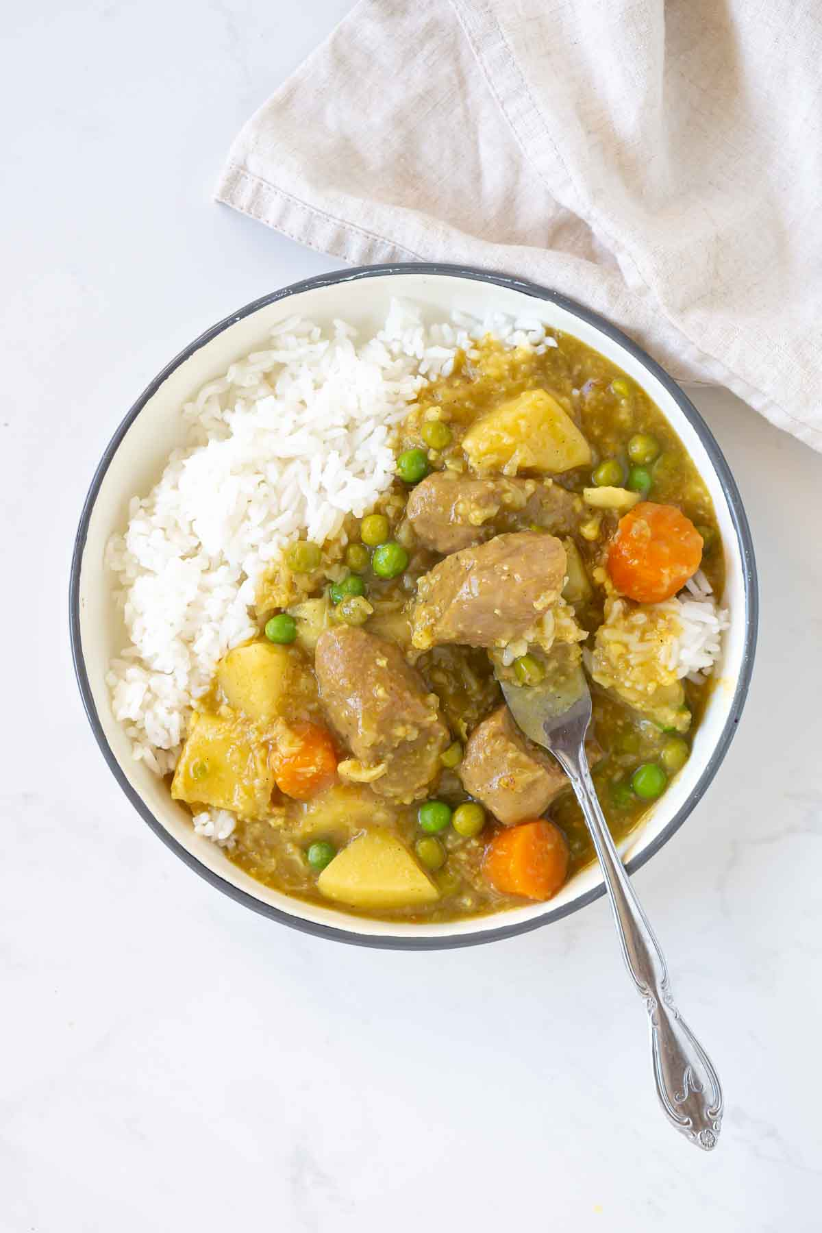 plate of curried sausages